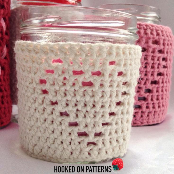 Heart Jar Cozy Free Crochet Pattern