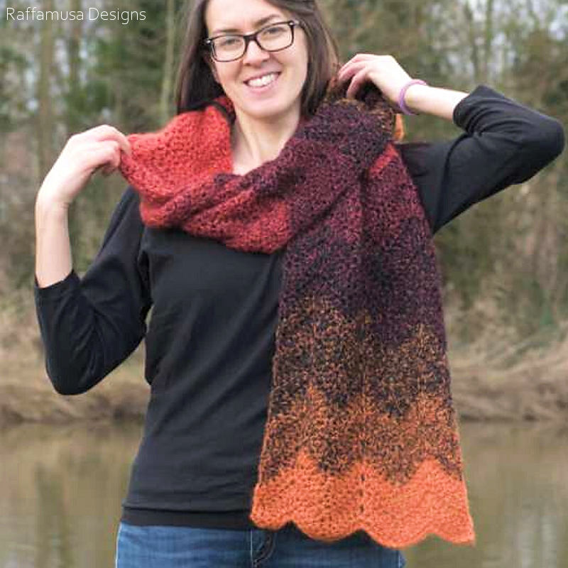 Simple Ripple Scarf Free Crochet Pattern