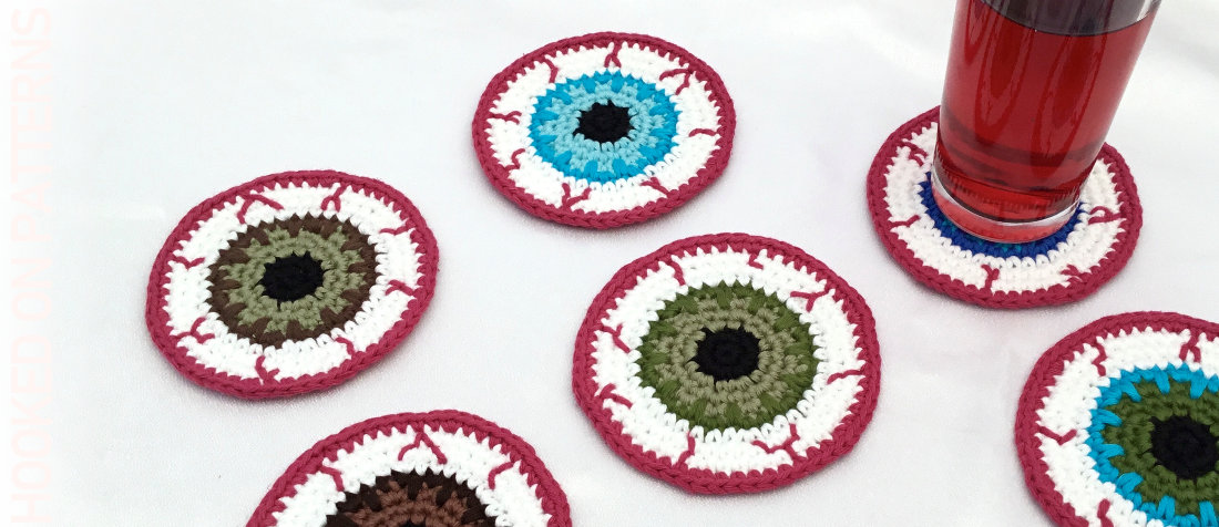 Free Eyeball Coasters Crochet Pattern Featured Image
