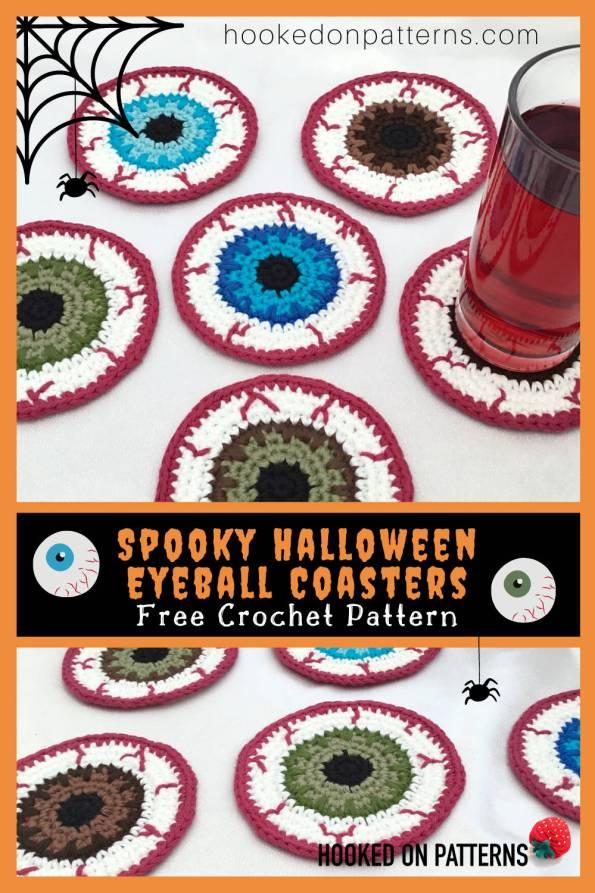 Free Halloween Eyeball Coasters Crochet Pattern Pinterest Image