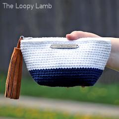 Colour Block Make Up Bag Free Crochet Pattern