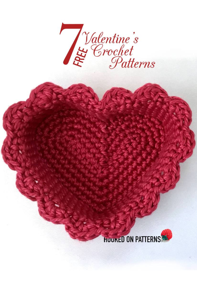 An image of a crocheted heart basket