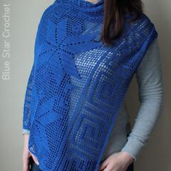 Electric Blue Filet Wrap Free Crochet Pattern