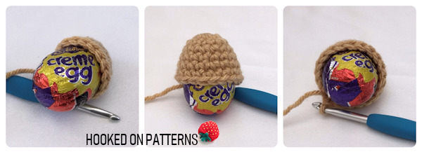 An instruction photo showing how the Easter egg animals should fit over the top of the Creme Egg chocolates