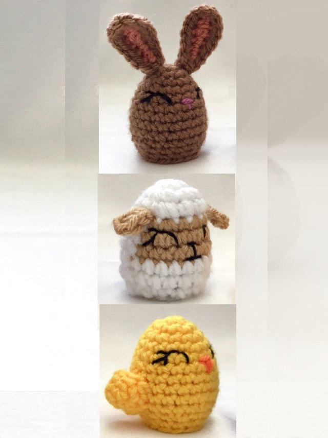 Image of crocheted creme egg bunny chick and lamb