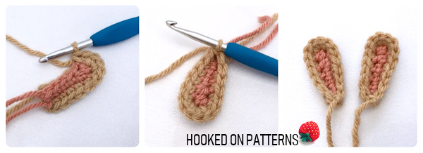 An instructional step by step photo showing how to crochet the bunny ears