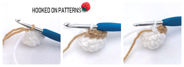 An instructional 3 part photo, showing show to change colours when crocheting the Easter egg lamb