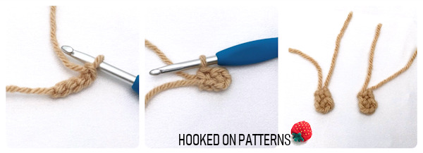 A instructional photo showing step by step images of how to crochet the lamb ears