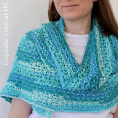A thumbnail photo of the Lacy Blossom Shawl free crochet pattern