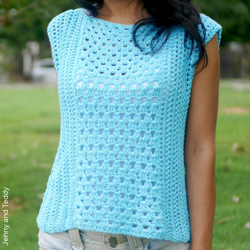 A photo of a modern style Granny stitch crocheted sleeveless top
