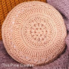 A thumbnail photo of the Flower Power Pillow free crochet pattern