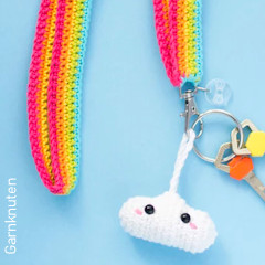 Thumbnail image of the Rainbow Cloud Lanyard free crochet pattern
