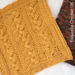 Thumbnail image of the Braided Cables Square free crochet pattern
