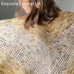 A thumbnail photo of the Misty Sunrise Shawl free Tunisian crochet pattern