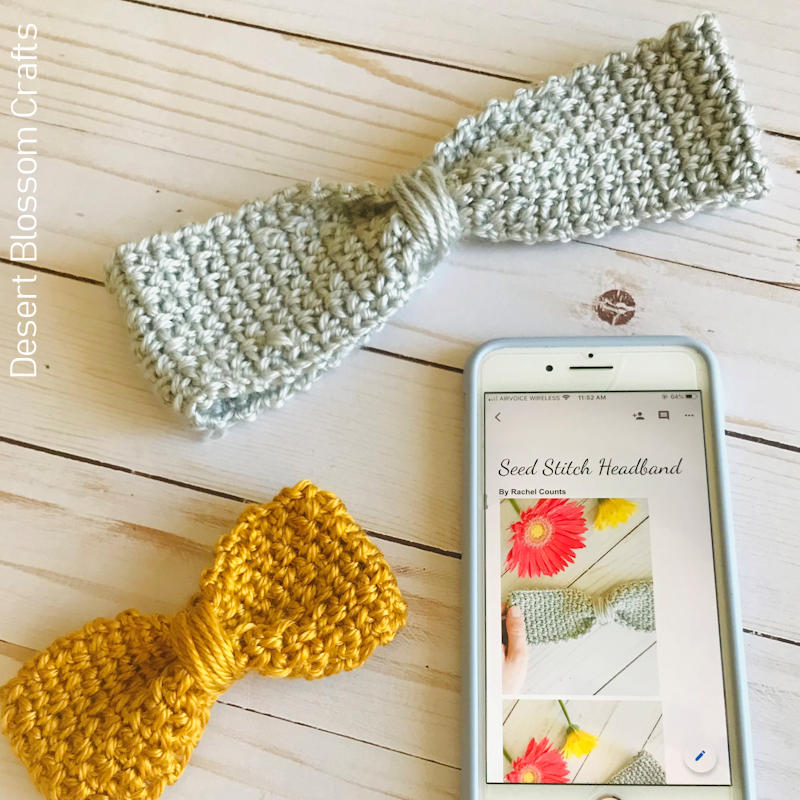 A photo of 2 headbands featuring a bow design and the crochet moss stitch.