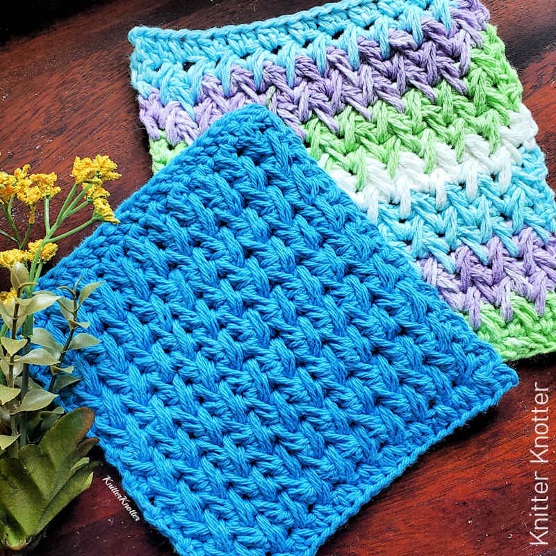 A close up photo of 2 richly textured dishcloths featuring the crochet feather stitch
