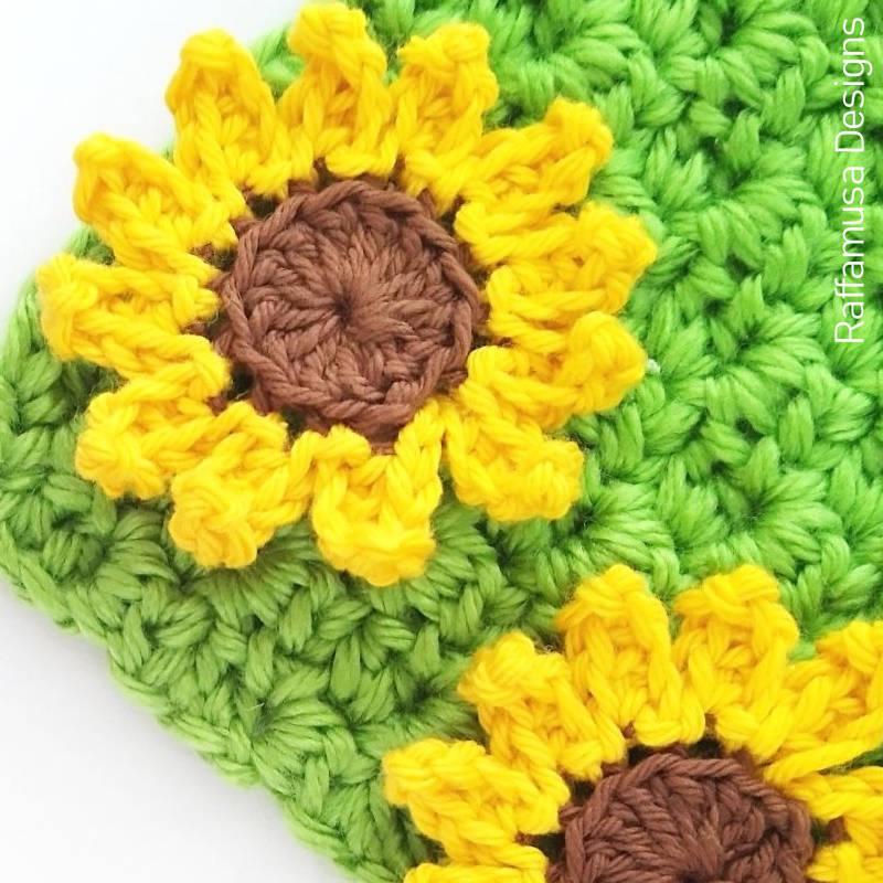 Sunflower Applique Free Crochet Pattern - A scrap yarn project.