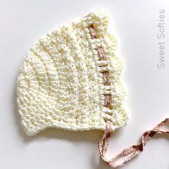 Thumbnail image of the Easy Lace Bonnet free crochet pattern