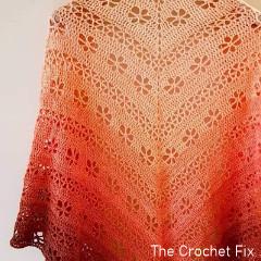 Thumbnail image of the Easy Peasy Posy Shawl free crochet pattern