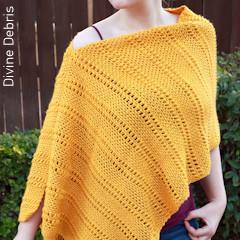 Thumbnail image of the Whitney Poncho free crochet pattern