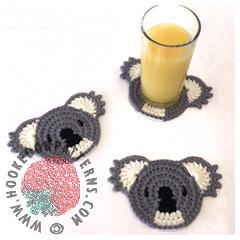 A thumbnail image of the Koala Coasters crochet pattern