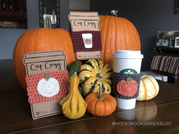 Two large orange pumpkins and an assortment of miniature gourds displayed with three cup coizes on kraft cardstock inserts: orange with a white pumpkin applique, gray with an orange pumpkin applique, and maroon with a pumpkin spice latte to go cup embroidered felt design.