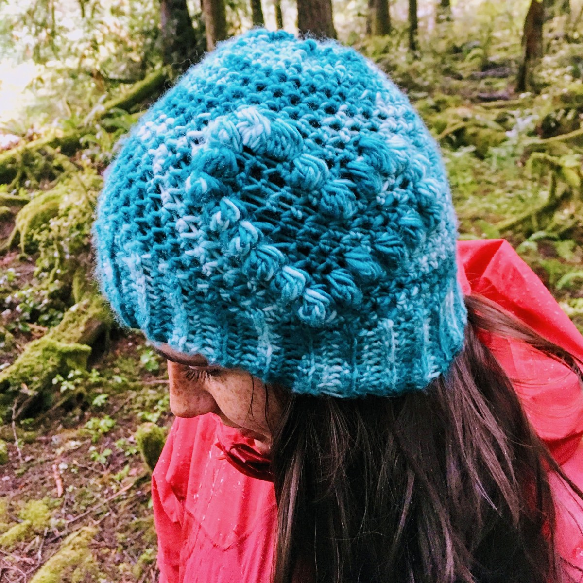 Heart To Beanie Pattern Hookyarncarabiner Shape Crochet Diagram A Woman Stands In The Forest Rain Blue Crocheted With