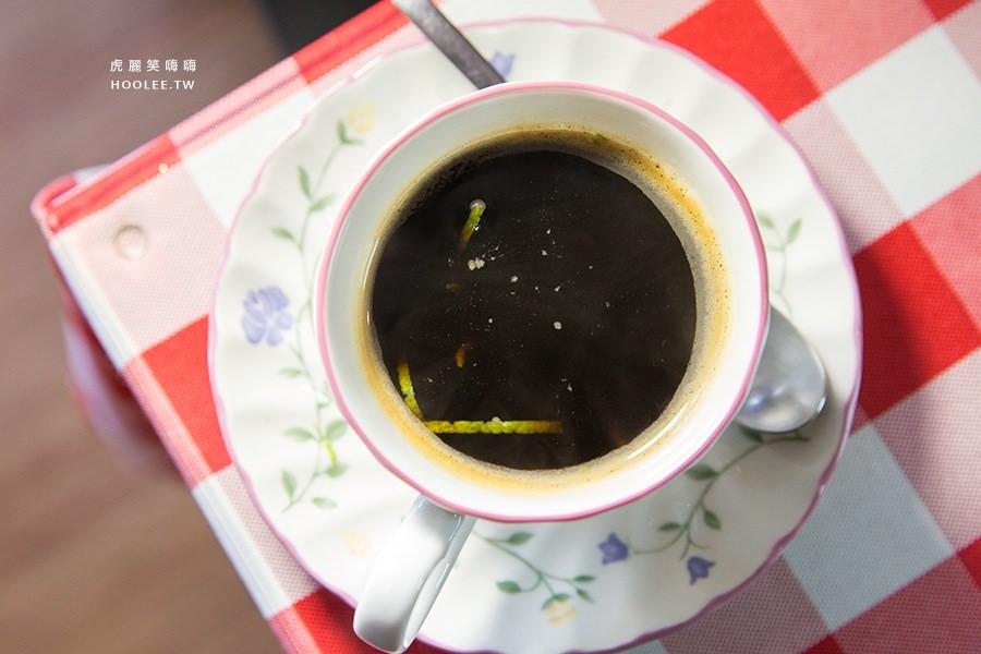 亞力的家法式薄餅小館 鮮檸熱咖啡 NTD90 檸檬皮+黑咖啡