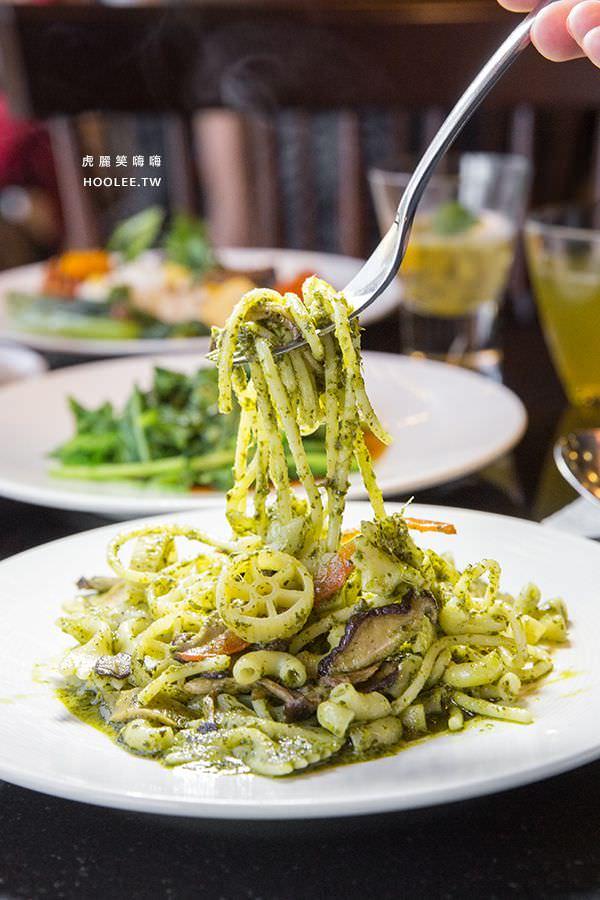 捷絲旅 蔬食百匯 Double Veggie 高雄素食吃到飽 義大利麵料理 羅勒青醬汁