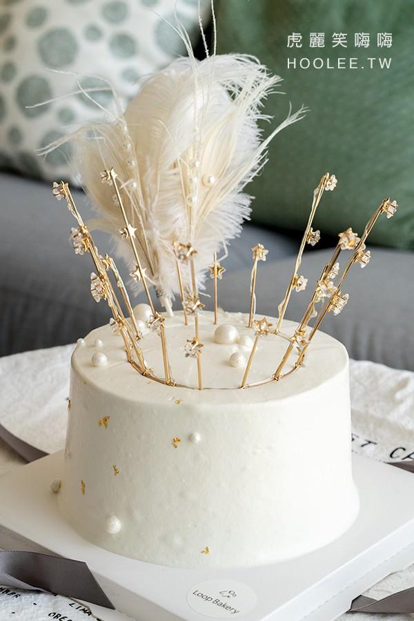 Loop圈圈 DIY烘焙 高雄生日蛋糕推薦 客製化蛋糕 復古蛋糕(白色) 6吋1200元起 - 虎麗笑嗨嗨