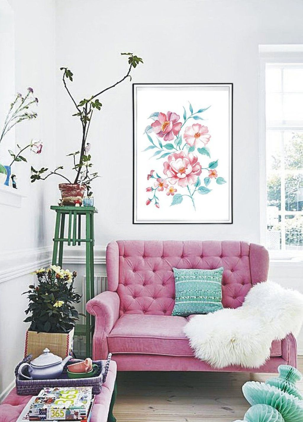 Beautiful Pink Living Room Decor Ideas 15