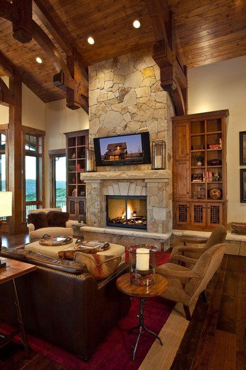 Stunning Lodge Living Room Decor Ideas 13