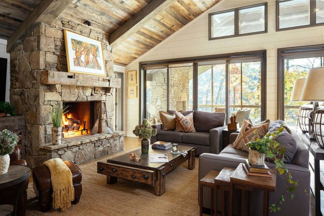 Stunning Lodge Living Room Decor Ideas 14