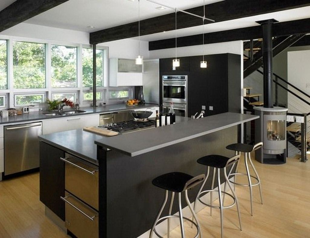Stunning Black Kitchen Island Ideas 10