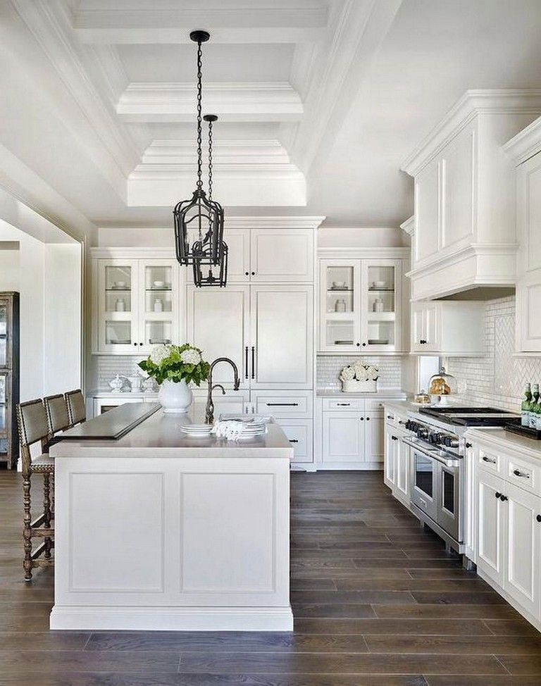 Inspiring White Kitchen Design Ideas With Luxury Accent 24