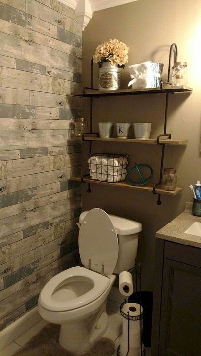 Inspiring Rustic Farmhouse Bathroom Decorating Ideas 15