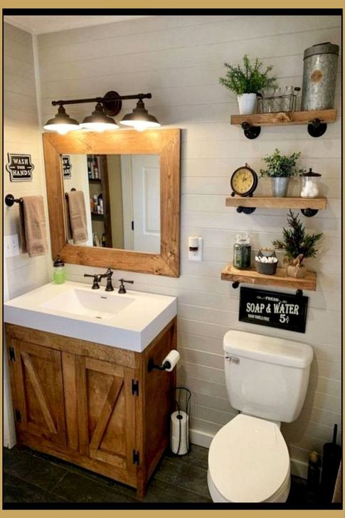 Inspiring Rustic Farmhouse Bathroom Decorating Ideas 28