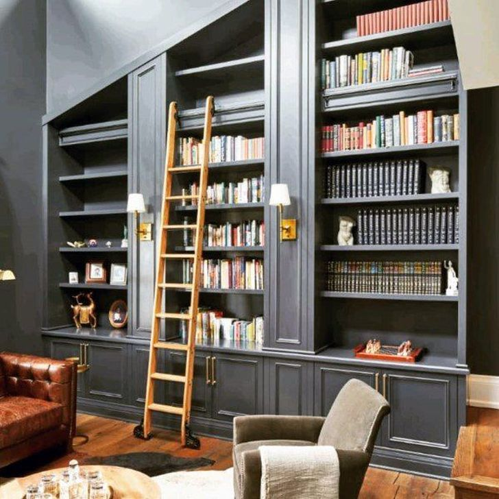 Stunning Bookshelves Design Ideas For Your Living Room Decoration 09