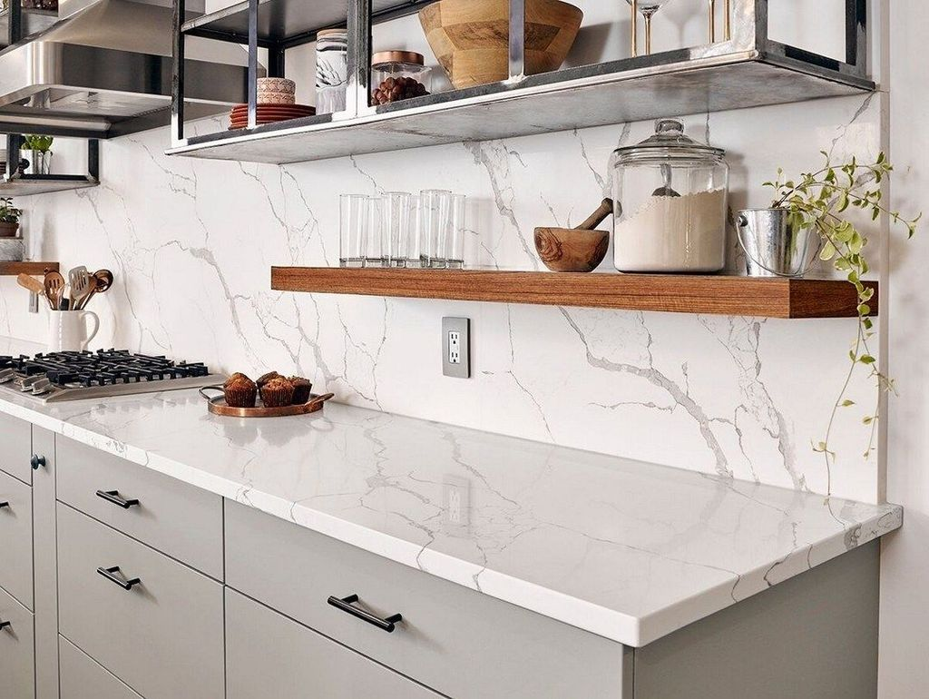 Beautiful Quartz Backsplash Kitchen Design Ideas 16