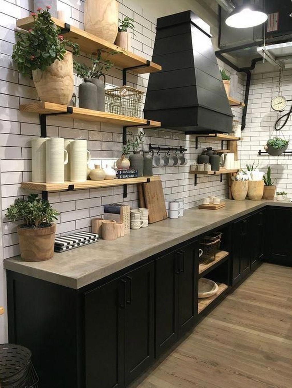 Fabulous Black And White Wood Kitchen Design Ideas 11