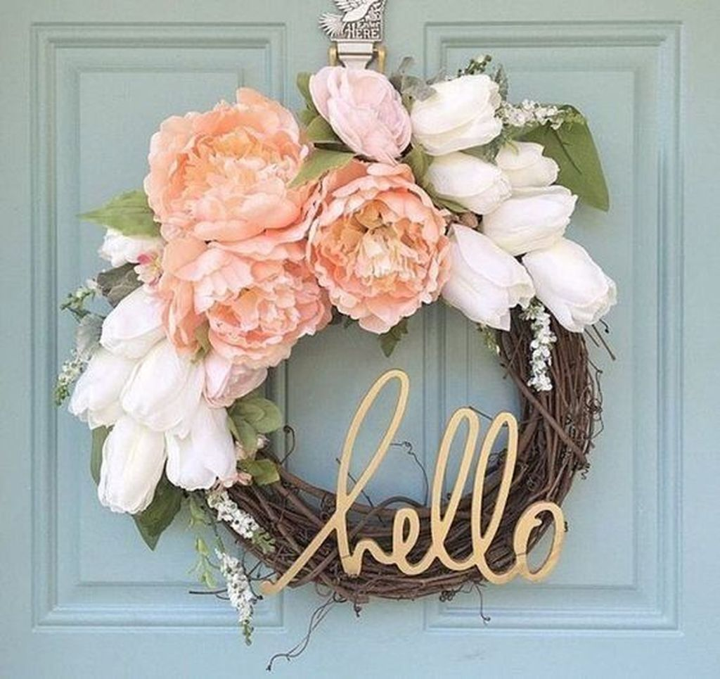 Inspiring Spring Door Wreaths For Your Home Decoration 07