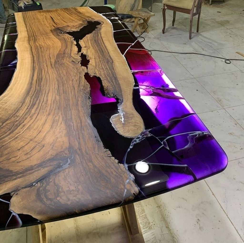Stunning Resin Wood Table Design Ideas You Will Love 18