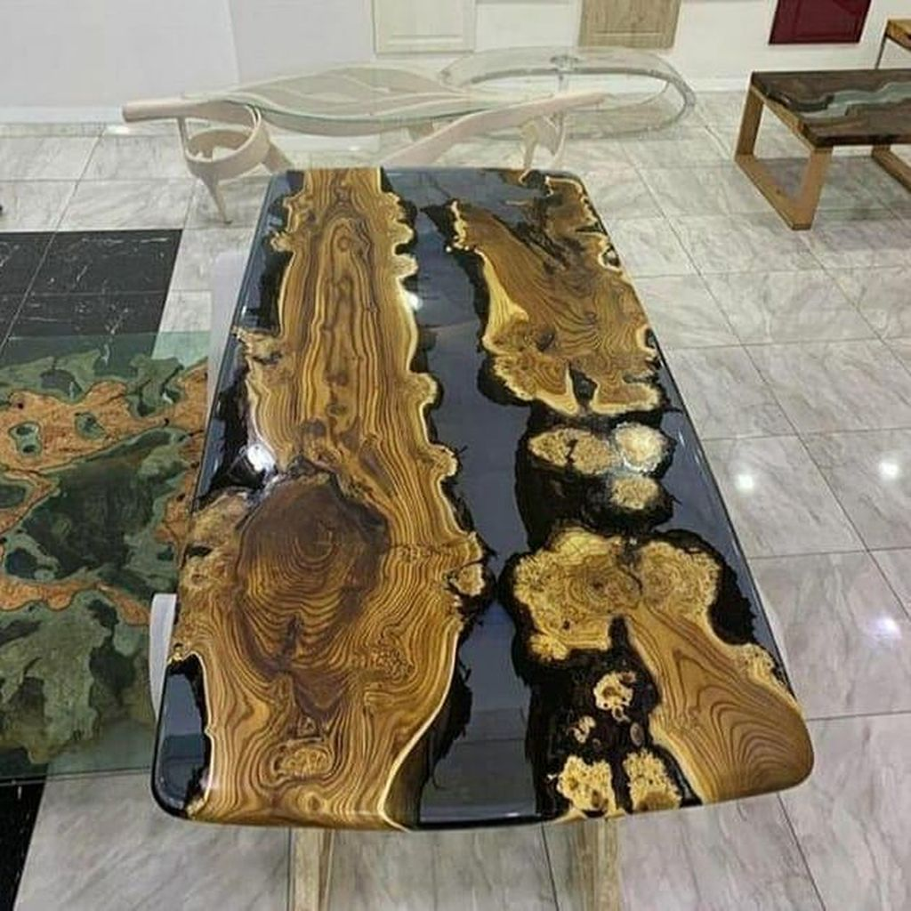 Stunning Resin Wood Table Design Ideas You Will Love 27