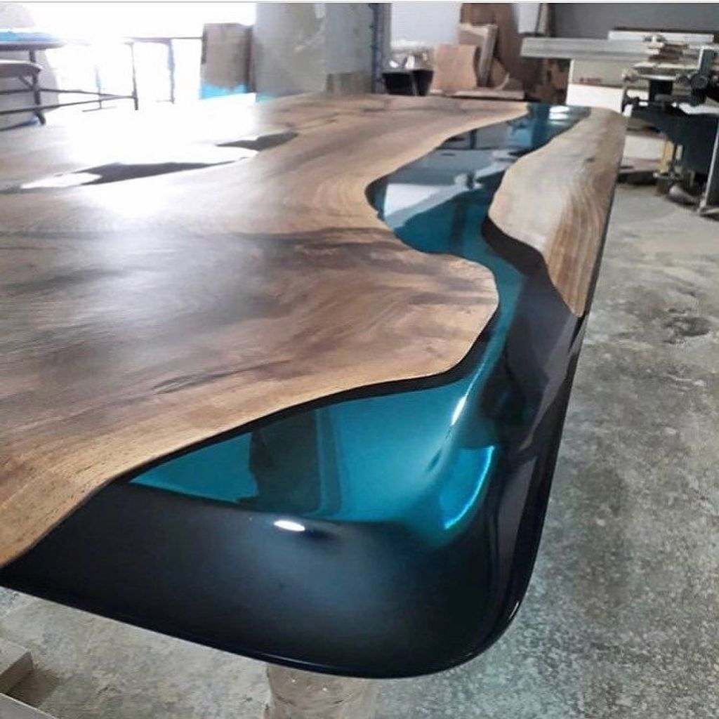 Stunning Resin Wood Table Design Ideas You Will Love 33