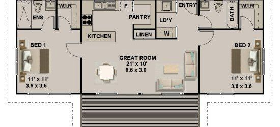 2 Bedroom 2 Bath House Plans
