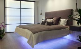 Modern Floating Bed Design with Under Light Ideas 1