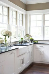 Elegant Kitchen Light Cabinets with Dark Countertops 3