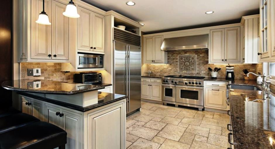 Elegant Kitchen Light Cabinets with Dark Countertops