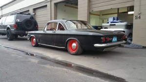 Three quarter rear view of Chevy Corvair