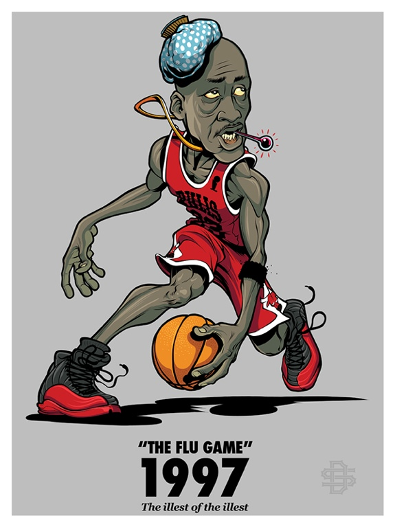 d8e10af857c Michael Jordan 'Flu Game' Illustration – Hooped Up